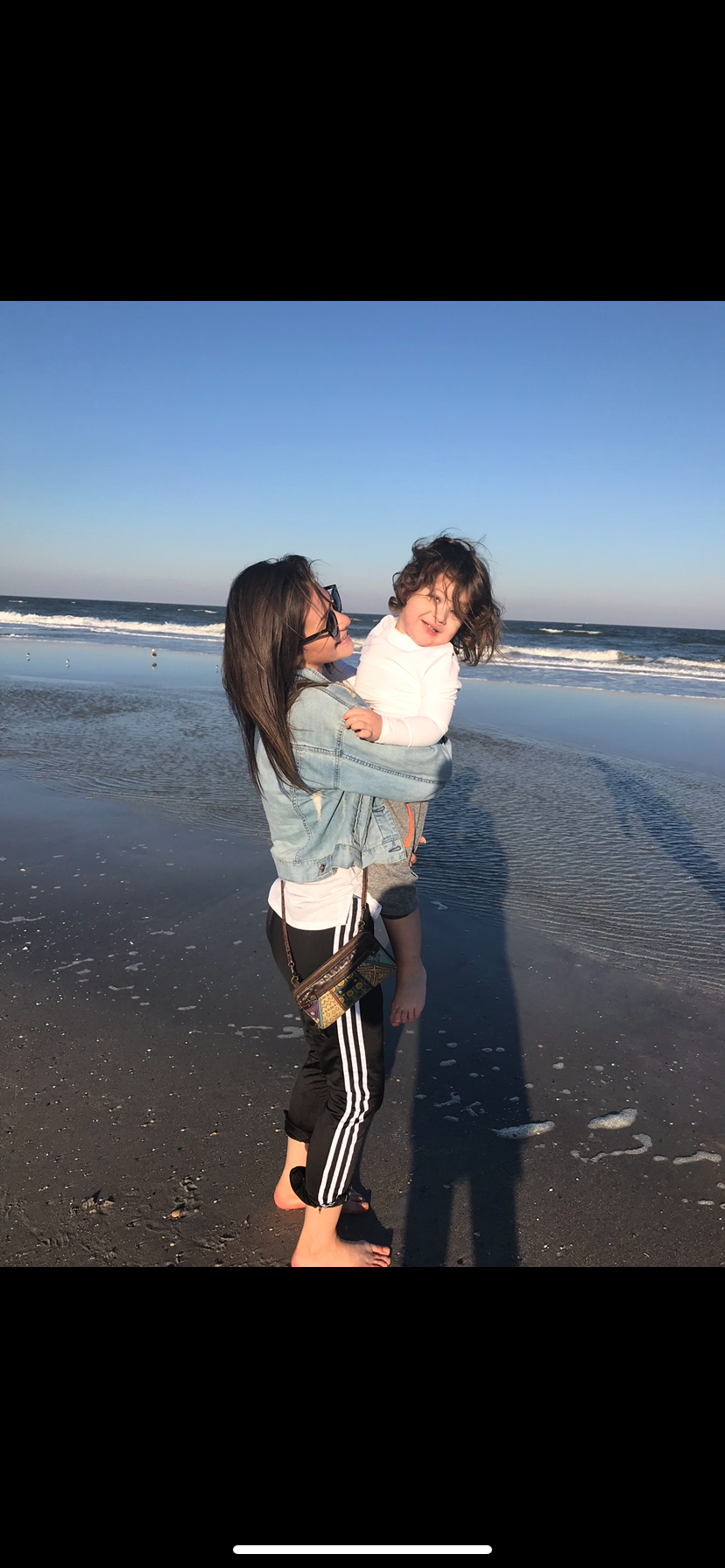 Francesca and son at the beach