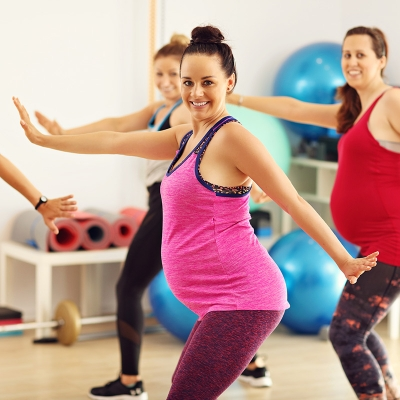 Pregnant mothers in fitness class